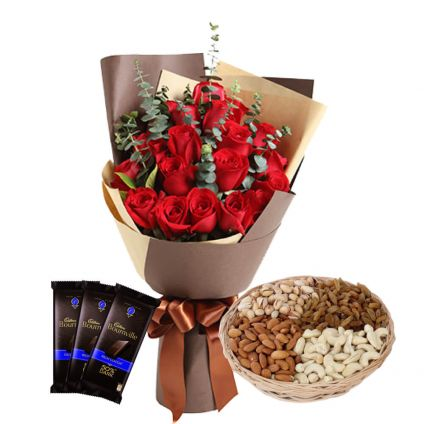 12 Red Roses Bunch,Dry fruits and 3 Bournville Chocolates