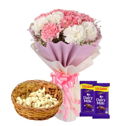 Carnations with Dry Fruits and Chocolates