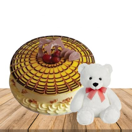 1 kg Butterscotch premium quality cake with 6 inch teddybear
