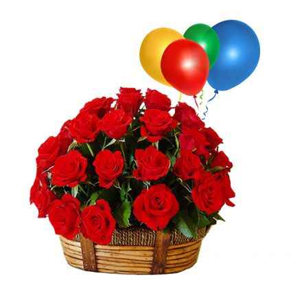 Basket of 50 Red roses with 10 Balloons