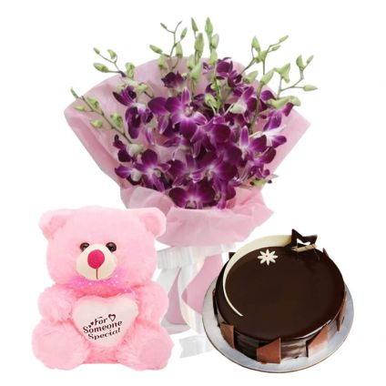A bunch of 10 purple orchid 1 kg chocolate cake and (6-inch-teddy bear)