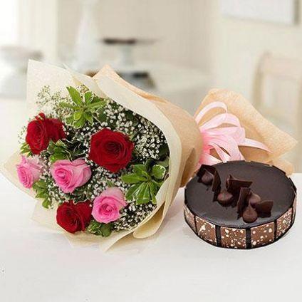 Mixed Roses With Truffle Cake