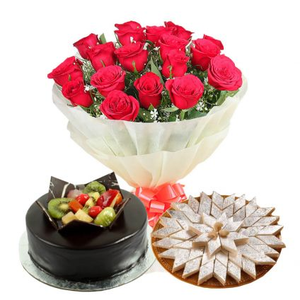 20 Red Roses, 1 Kg Chocolate Fruit cake and 1 Kg Kaju Katli