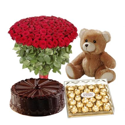 200 Red Roses, 1 Kg chocolate truffle cake with 24 pcs ferrero Rocher and teddy