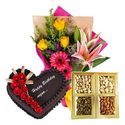 1/2 Kg Heart Shape Chocolate Cake,2o Mixed Flowers and 1/2 Kg Dry Fruits