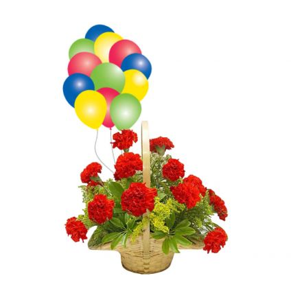 Basket of 20 mixed carnation and 10 balloons