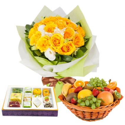 Yellow Roses with Mixed Sweets and Mixed Fruits