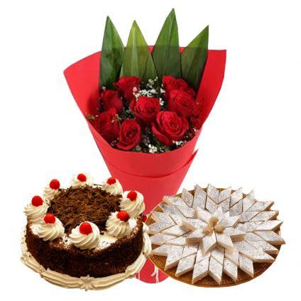 Flowers cake with kaju katli