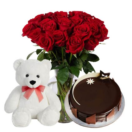 10 Red Roses in Vase, 1/2 chocolate Truffle Cake with small teddy