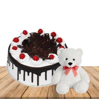 1 kg blackforest cake with 1 feet height white colour teddybear