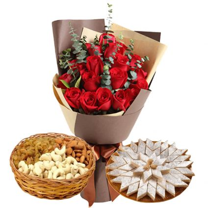 20 Red Roses, Half Kg Mixed Dry Fruits and Half kg Kaju Katli