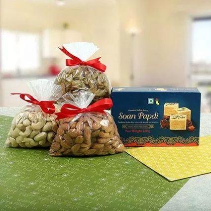 Cashew , Almond With Soan Papdi