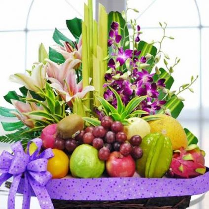 Mixed Flowers With Mixed Fruits