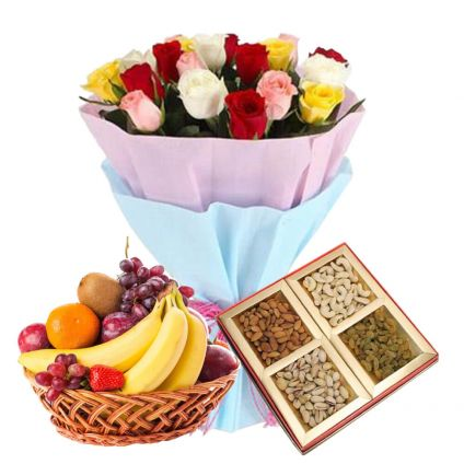 12 Mixed Roses, 2 Kg Mixed Fruits and 1/2 Kg Dry fruits