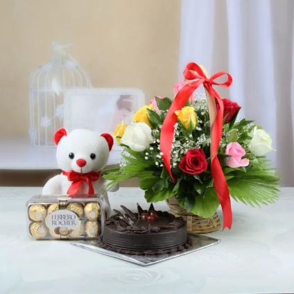 Mixed Roses, chocolate cake, ferrero Rocher with teddy