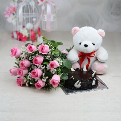 Bunch 10 pink roses, 1/2 kg chocolate Truffle cake and 6 inch teddy bear