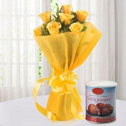 Yellow Roses and Gulab jamun
