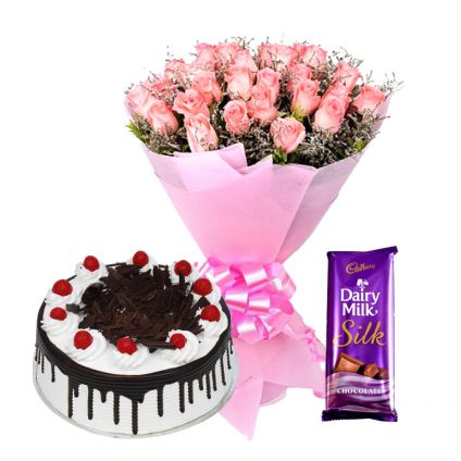 Roses, black forest cake and silk