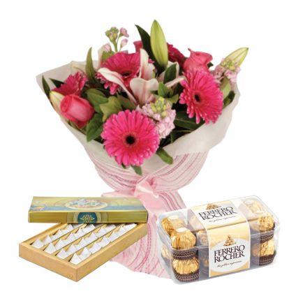 Mixed Flowers and Kaju katli