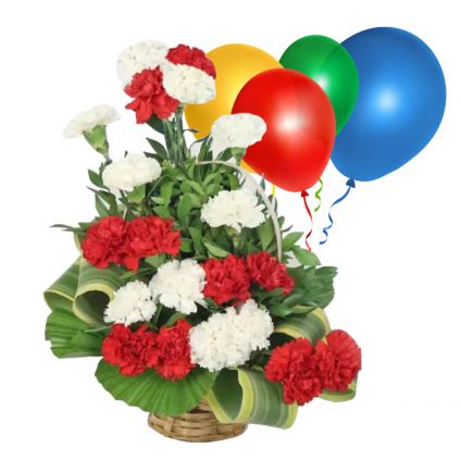 Pink and Red Carnation with balloon