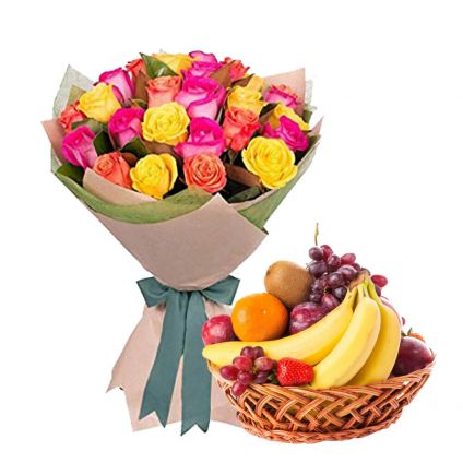 Mixed roses with mixed fruits