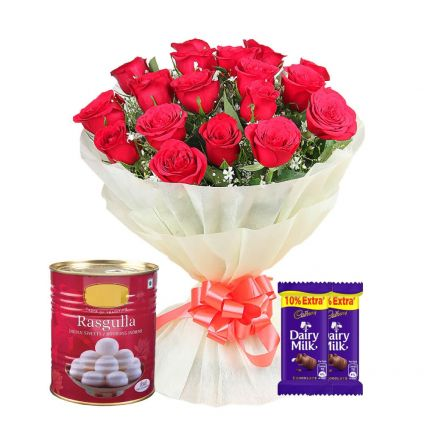 Red Roses With 1 Kg Rasgulla and Cadbury Dairy Milks