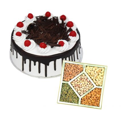 1/2 Kg Black forest cake with 1/2 Kg dry fruits