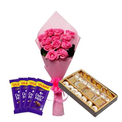 12 Pink Rose With 1/2 kg Mixed Sweets and 4 Cadbury Dairy Milk Chocolates