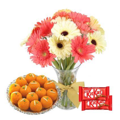 Mixed Gerbera with vase ,MotiChoor Ladoo and 2 pcs kitkat