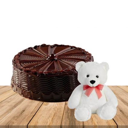 1/2 kg Chocolate Cake With Soft 6inch Teddy Bear For Her