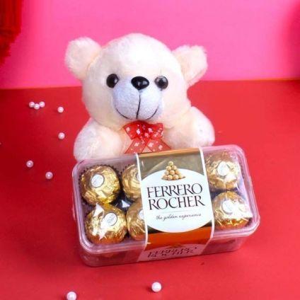 Teddy Bear 6 inch and 16 pcs Ferrero rocher