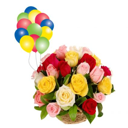 Mixed Roses with Balloons