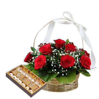 Basket of 15 Red Roses with 1 Kg Mixed Sweets