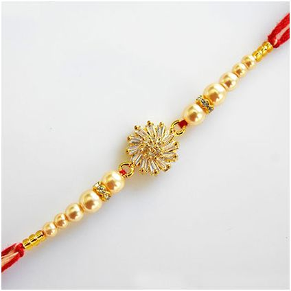 Golden American Diamond Rakhi