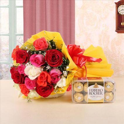 12 mixes roses and 16 Ferrero Rocher