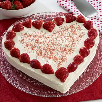 Strawberry Heart Shaped Cake