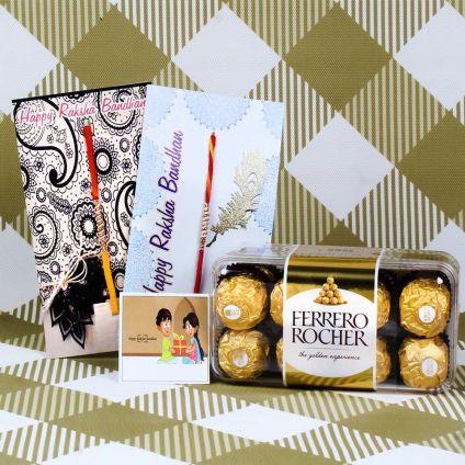 Ferrero Rocher chocolates with two designer Rakhis