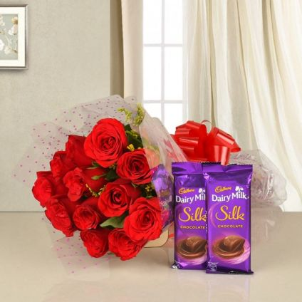 12 Red rose with 2 dairy milk silk
