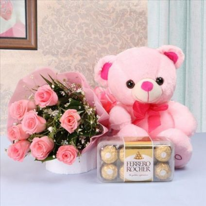 18 Pink Roses with Teddy & 16 Pcs Ferrero Rocher