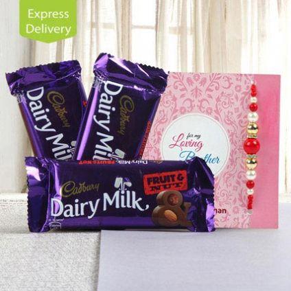 3 Dairy Milk fruits with Rakhi