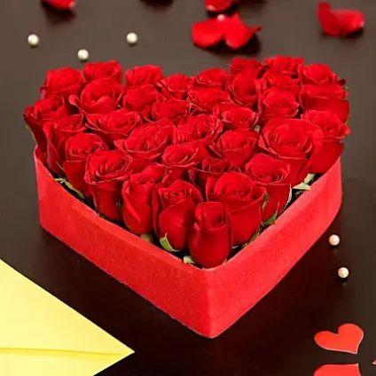 Beautiful Roses with Heart Shape Box