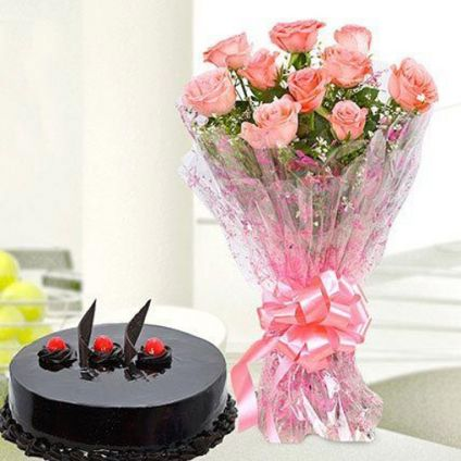 Bunch of Pink Roses With Truffle Cake