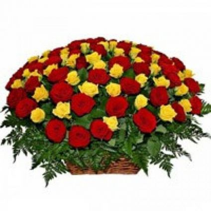 Arrangement Of 100 Red And Yellow Roses