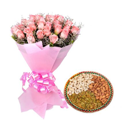 Pink Roses with Mixed Dry Fruits