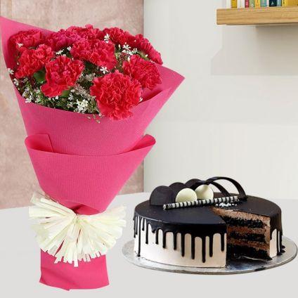 Carnation With Choco Cream Cake