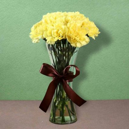 Yellow Carnations with Vase