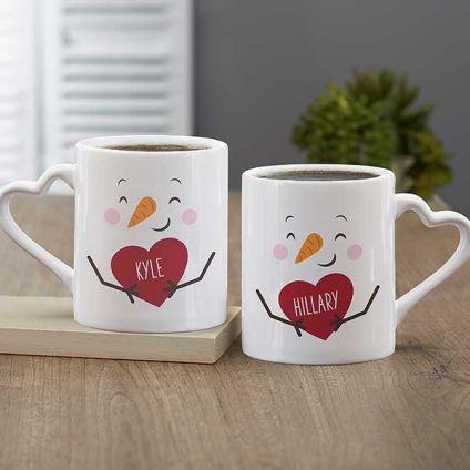 Couple heart shape valentines mug