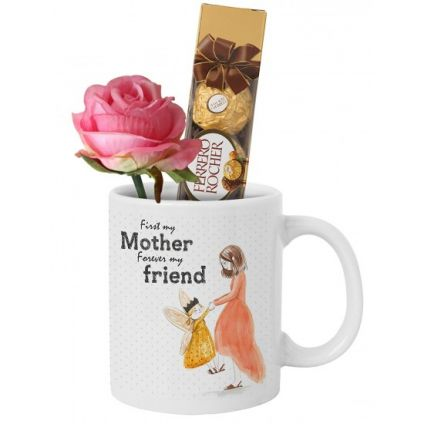 Mug (Customize), 4 Pcs Ferrero Rocher and artificial rose