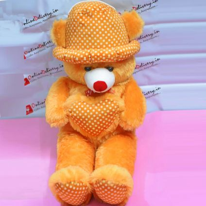 Brown Teddy Heart With Cap