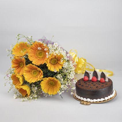 Yellow Gerberas with Chocolate cake
